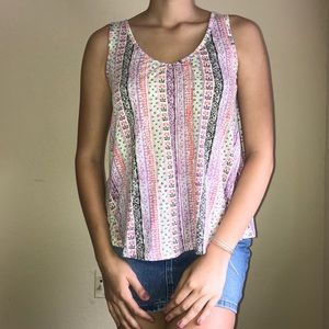 Patterned Soft Tank Top with Crochet Backing